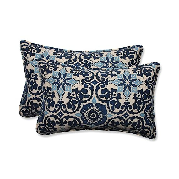 Pillow Perfect Outdoor/Indoor Woodblock Prism Rectangular Throw Pillow (Set of 2), Blue - Includes two (2) outdoor pillows, resists weather and fading in sunlight; Suitable for indoor and outdoor use Plush Fill - 100-percent polyester fiber filling Edges of outdoor pillows are trimmed with matching fabric and cord to sit perfectly on your outdoor patio furniture - living-room-soft-furnishings, living-room, decorative-pillows - 619J3NPwiRL. SS570  -