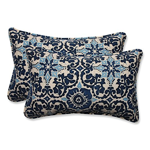 Pillow Perfect Outdoor/Indoor Woodblock Prism Rectangular Throw Pillow (Set of 2), Blue