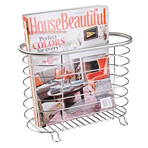 mDesign Decorative Metal Farmhouse Magazine Holder and Organizer Bin - Standing Rack for Magazines, Books, Newspapers, Tablets in Bathroom, Family Room, Office, Den - Brushed