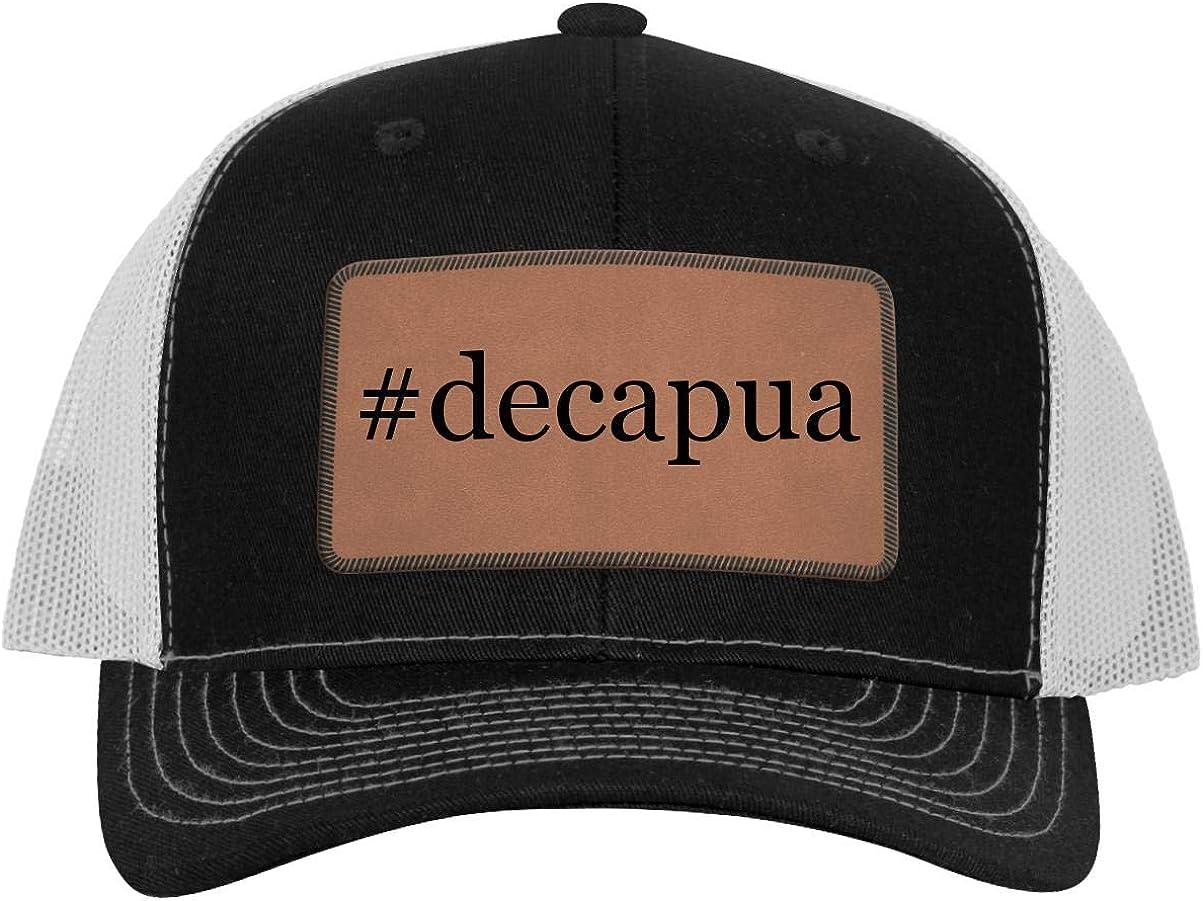 One Legging it Around #Decapua Hashtag Leather Dark Brown Patch Engraved Trucker Hat