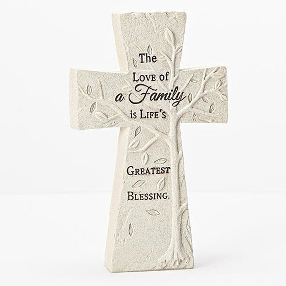 Love Of Family Embossed Tree Cross Ivory 5.5 x 8 Resin Stone Tabletop Figurine