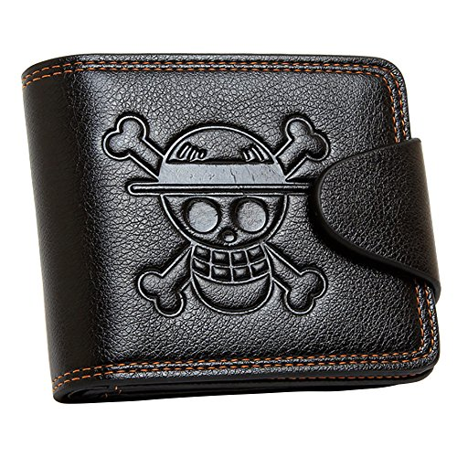 Wildforlife Anime One Piece Straw Hat Pirates Jolly Roger Leathercraft Wallet