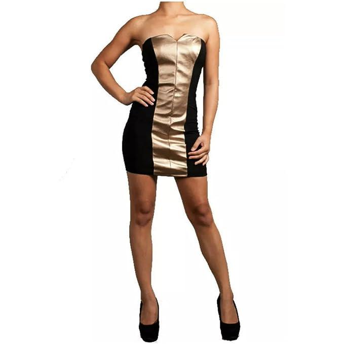 b547410718f Amazon.com  Dress Women Faux Leather Strapless Panel Stretch Club ...