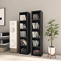 INLIFE CD Cabinets 2 pcs Black 21x16x93.5 cm Chipboard