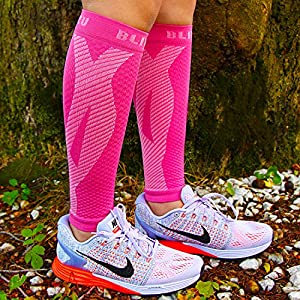Blitzu Calf Compression Sleeve Socks One Pair Leg Performance Support for Shin Splint & Calf Pain Relief. Men Women Runners Guards Sleeves for Running. Improves Circulation and Recovery Pink L/XL