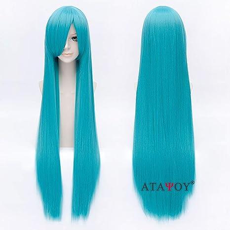 ATAYOU® 100 cm / 40 pelo largo recto peluca recta azul peluca cosplay