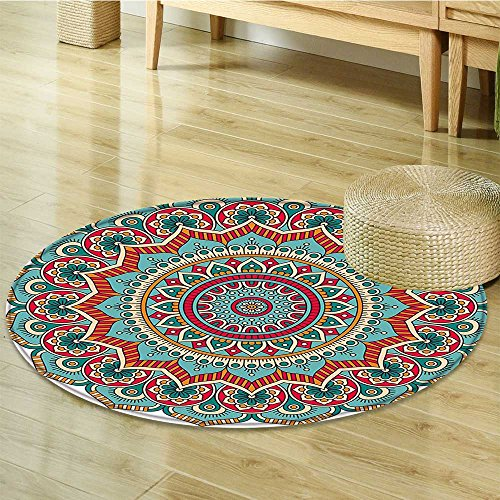 Small round rug Carpet Circle Meditation Folk Spiritual Culture Print Teal Orange Red door mat indoors Bathroom Mats Non Slip-Round 59'' by Liprinthome