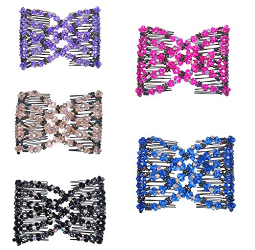 ch Flower Bow Glass Bead Hair Head Comb Cuff Double Clip Good Gift (Double Bead Line)