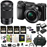 Sony Alpha a6000 24 MP Mirrorless Camera with 16-50mm and 55-210mm Lens and Four 32GB SD Cards