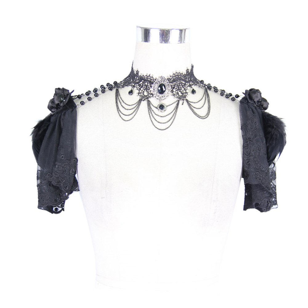 Gothic Lace Cappa with Necklace Women Vintage Palace Shawl Party Accessories