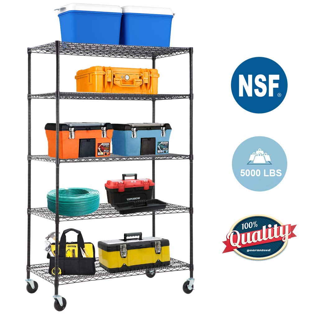 5-Wire Shelving Unit Steel Large Metal Shelf Organizer Garage Storage Shelves Heavy Duty NSF Certified Commercial Grade Height Adjustable Rack 5000 LBS Capacity on 4'' Wheels 24''D x 48''W x 76''H,Black