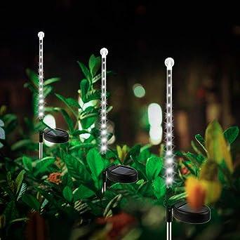 Luces Estaca Jardin Solares Exterior,KINGCOO Impermeable 25LED Solar Gota Lluvia Meteoros Nieve Luces de Navidad para Césped Patio Trasero Paisaje Camino Iluminación Decoración (Blanco): Amazon.es: Iluminación