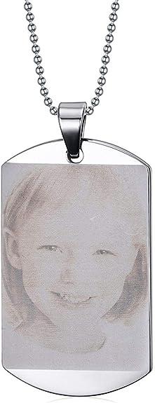 Zysta Personalized Text /& Fotogravur Edelstahl Dog Tag Anh/änger mit Zirkon Erkennungsmarke ID Tag Gravurplatte Halskette f/ür Personalisierte Geschenke