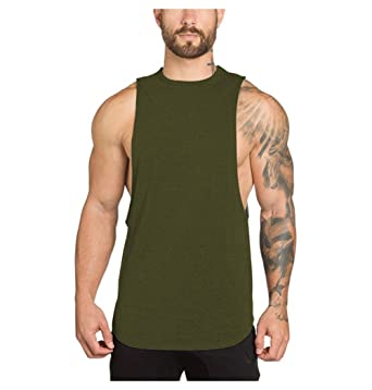ceabdf6cd4c Men s Gym Tank Tops Muscle Cut Stringer Bodybuilding Workout Sleeveless T- Shirts-AMGN-
