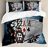 Ambesonne Poker Tournament Decorations Duvet Cover Set Queen Size, Gambling Chips and Pair Cards Aces Casino Wager Games Hazard, Decorative 3 Piece Bedding Set with 2 Pillow Shams, Multicolor