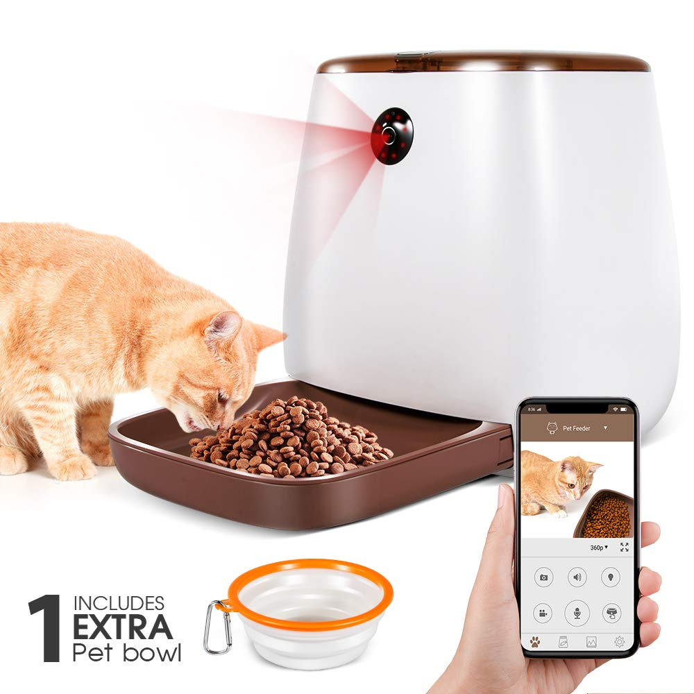 Automatic Pet Feeder 3.3L Smart Dog Cat Dispenser with 1 Extra Pet Bowl, Timer Programmable HD Camera for Voice and Video, iPhone and Android Compatible with Alexa