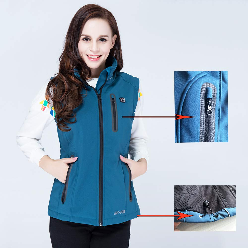 Z-one store XL, Blue Washable Heated Vest with Rechargable Battery Pack for Women Girls