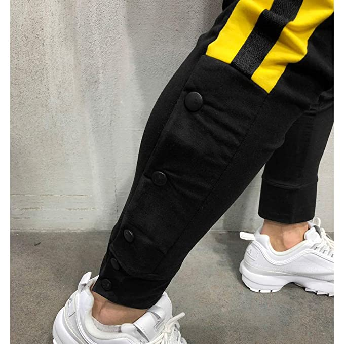 L/ässige Gym Fitness Trainingshose Slim Fit Harem Sweat Pants M-3XL Yying M/änner Button Jogger Hosen