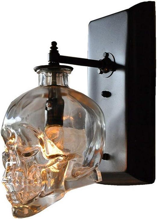 PoJu Retro Loft Skull Bones Lámpara de Pared Apliques Transparente ...