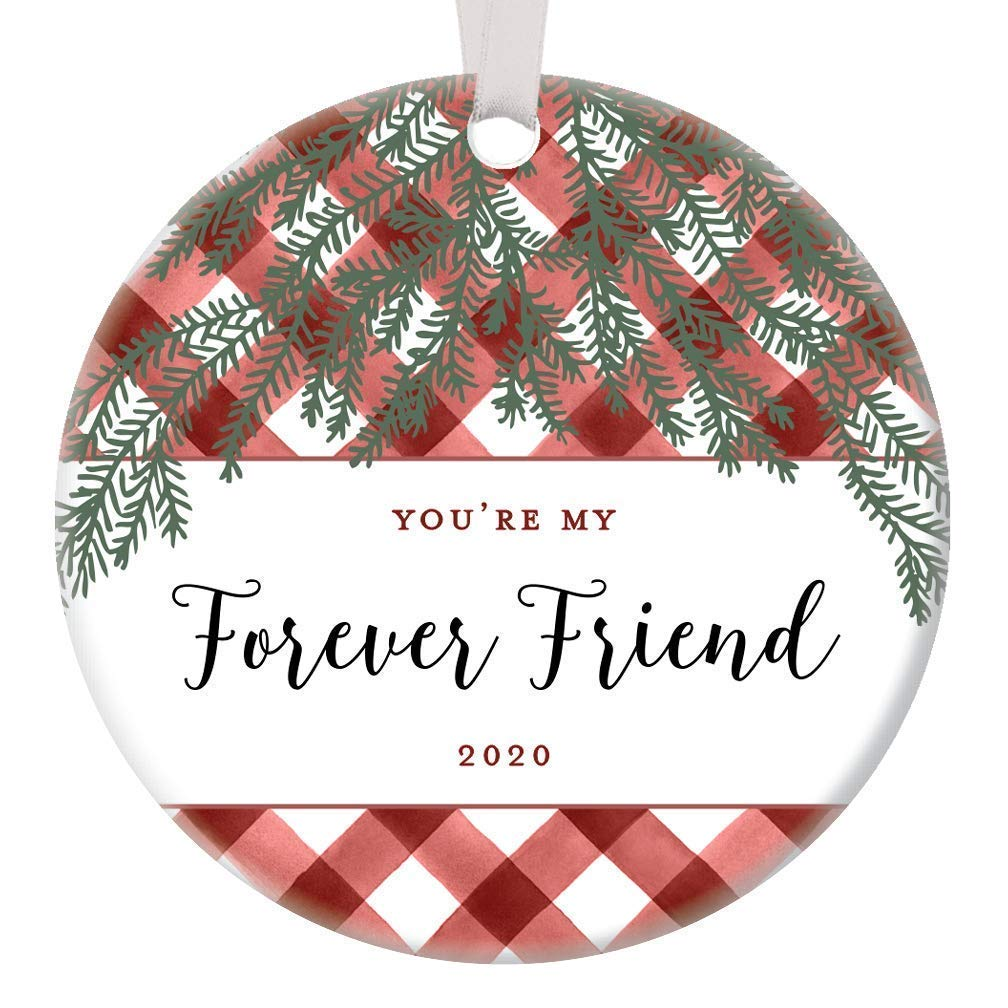 Amazon Com Best Friends Christmas Ornament 2020 Sentimental Keepsake Always Together In Spirit Friendship Forever Holiday Presents Soul Sisters Gift Ideas Red Buffalo Plaid 3 Flat Circle Ceramic Farmhouse Decor Handmade
