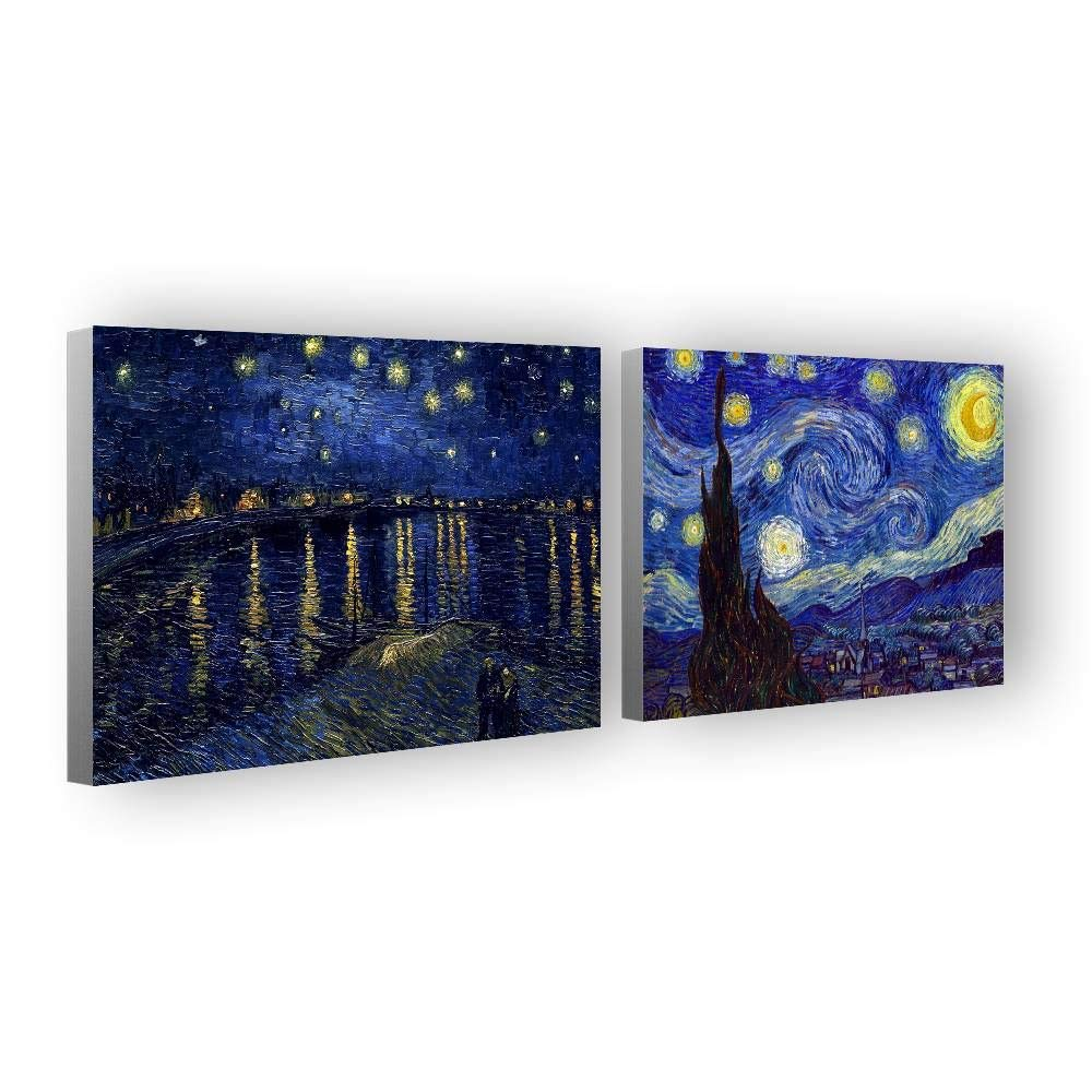 Alonline Art - Starry Night Over Rhone by Vincent Van Gogh | Framed Stretched Canvas on a Ready to Hang Frame - 100% Cotton - Gallery Wrapped | 27''x20'' - 68x51cm | Set of 2 Lot | Artwork HD Paint