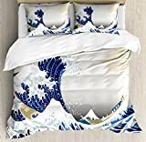 Lunarable Wave Duvet Cover Set Queen Size, Hokusai Pattern Japanese Ukiyoe Themed Asian Oriental Sketch Style Ocean, Decorative 3 Piece Bedding Set with 2 Pillow Shams, Navy Blue Beige White