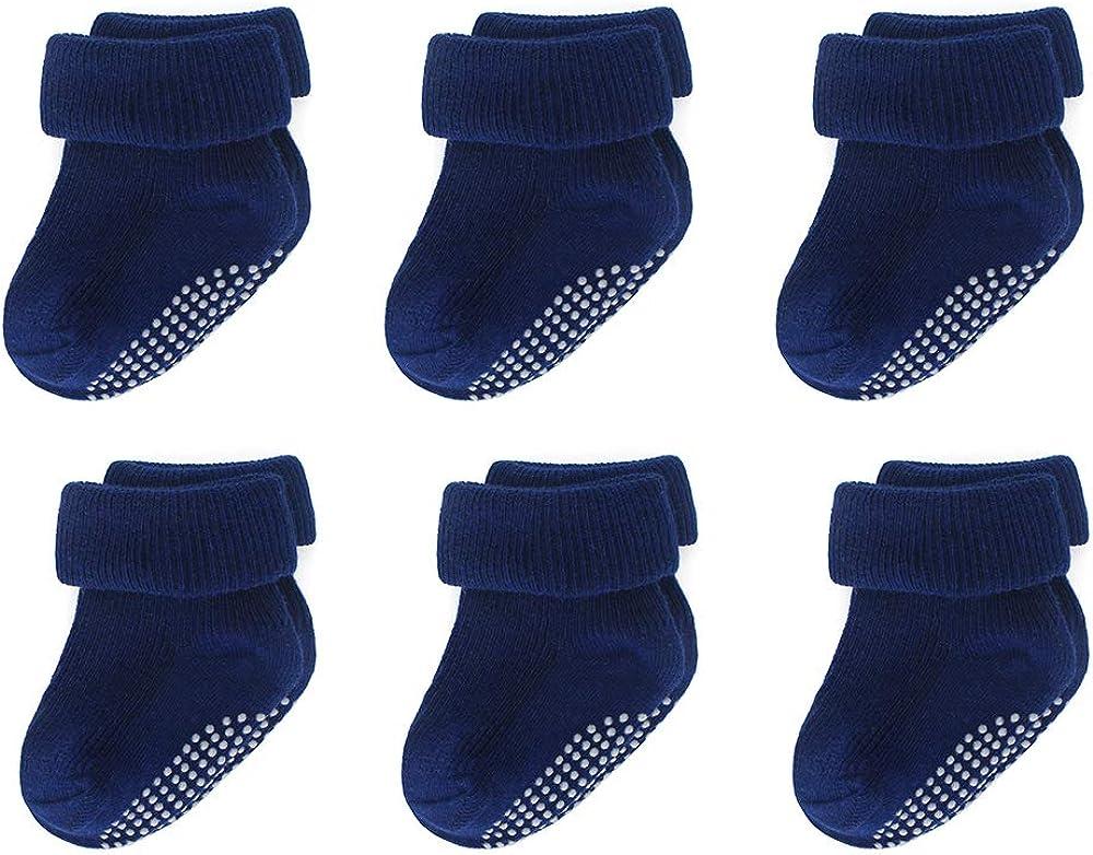 LACOFIA Newborn Baby Boys Girls Cotton Socks Set Infant Anti-slip Turn Cuff Socks with Grips 6 Pairs