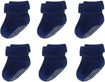 LACOFIA 6 Pares Calcetines de algodón para recién nacidos Conjunto de Calcetines antideslizante para bebé niños