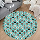 Nalahome Modern Flannel Microfiber Non-Slip Machine Washable Round Area Rug-Skulls Decorations Christian Cross And Roses On Skull Pattern Mexican Vintage Style area rugs Home Decor-Round 75''