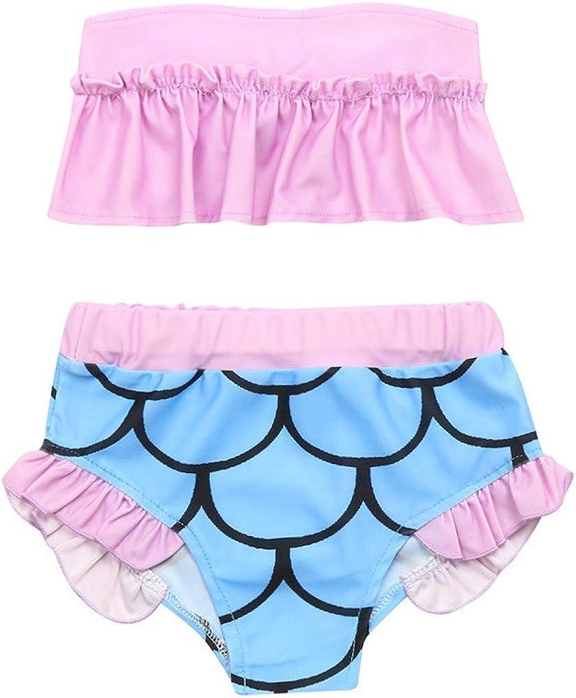 Fartido Infrant Baby Girl Leaking Shoulder Tight Top Bikini Swimwear Set