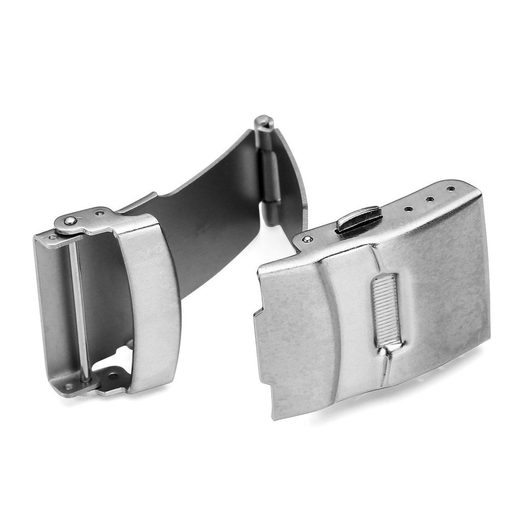 Top Plaza Stainless Steel Deployment Clasp - 20mm Silver Single Fold Over Clasp Deployant Buckle with Insurance Watchband Clasp for Leather/Metal Watch Band Strap by Top Plaza (Image #3)