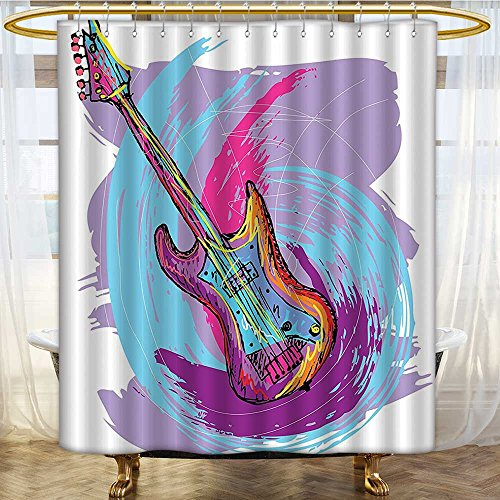 - Shower Curtains with Shower Hooks Electric Guitar with Motley Curved Effects Icon Pink Blue Fabric Bathroom Set with Hooks W84 x H72 inch