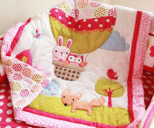 NAUGHTYBOSS Girl Baby Bedding Set Cotton 3D Embroidery Hot Air Balloon Rabbit Fox Owl Quilt Bumper Bedskirt Fitted Blanket 8 Pieces Set Red by NAUGHTYBOSS