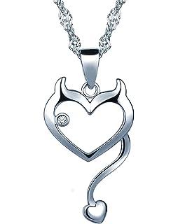 2b1bb0bee1cb Infinite U Women s 925 Sterling Silver Cubic Zirconia Devil Heart Pendant  Necklace