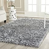 Safavieh Milan Shag Collection MLS431S Handmade Silver Polyester Area Rug, 6-Feet by 9-Feet