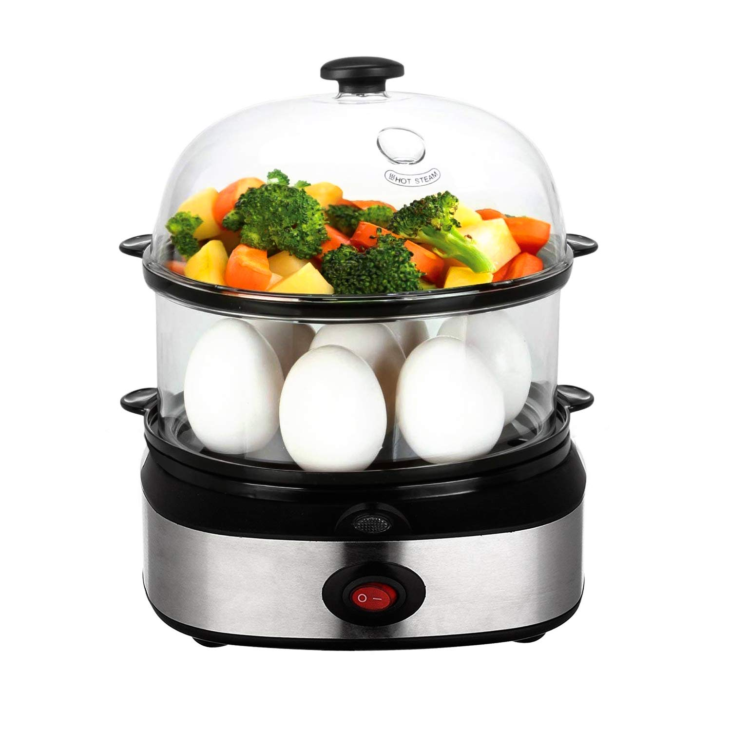 Egg Cooker,PowerDoF Multifunctional Double Layer Rapid Electric Egg Steamer Boiler with 14 Egg Capacity by PowerDoF