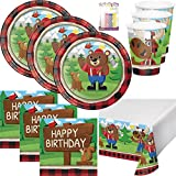 Little Lumberjack Bear Party Supplies Pack Serves 16: Dinner Plates, Luncheon Napkins, Cups, Table Cover and Birthday Candles