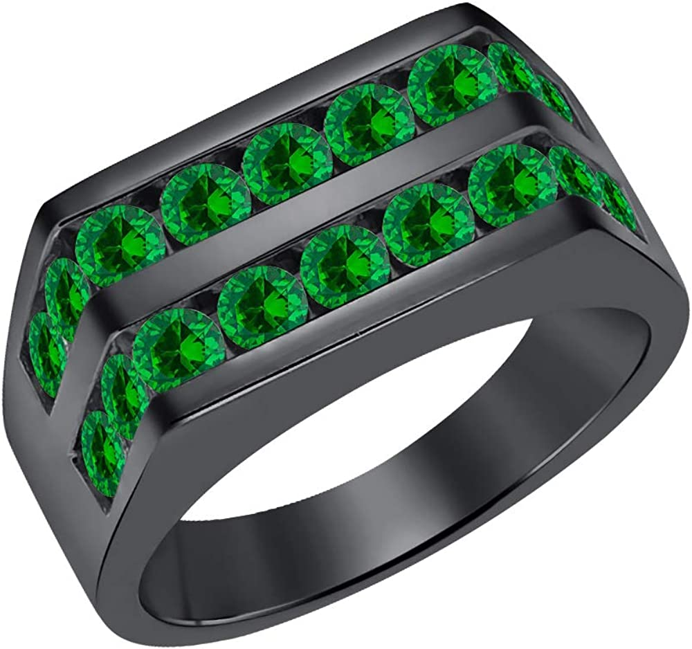 Mens 14k Black Gold Plated Channel Set Round Emerald Wedding Band Anniversary Ring 925 Sterling Silver