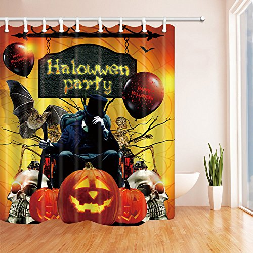 Nalish Halloween Pattern Shower Curtain Polyester with Hooks 70x70 (Que Significa Halloween)
