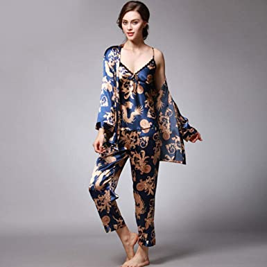 Women Lady Silk Satin Pajamas Set Pyjama Sleepwear Nightwear Lounge wear Costume