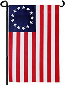 FRF Betsy Ross Garden Flag American Flags Polyester 13 Star Ross Flag Primitive Decor Outdoor US Banner 12.5×18inch Double Sided