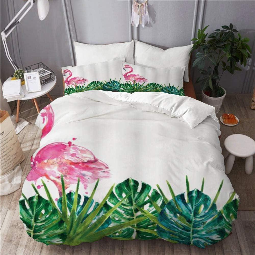 Ropa de cama Funda nórdica Juego de 3 fundas de edredón con 2 fundas de almohada, Arte botánico de naturaleza exótica tropical con hojas Ilustraciones de flamencos, Cobertor de cama de microfibra ultr