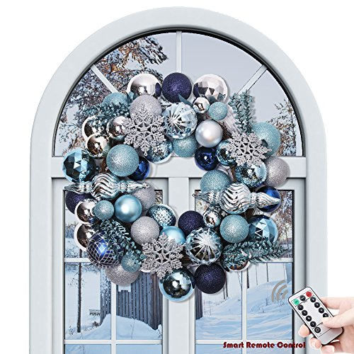 "Valery Madelyn 20"" Pre-Lit Winter Wishes Blue Silver Christmas Wreath with Shatterproof Ball Ornaments, Rattan Base with 20 LED Lights, Remote and Timer Included"