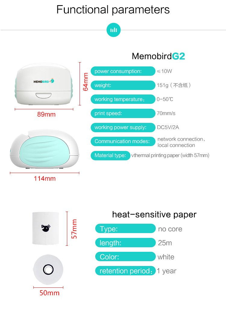 MEMOBIRD G2 Printer Wifi Portable Printing Barcode Wireless Pocket Mini Thermal Printer Electronic Computer Office pink color Internet-Enabled Paper Messenger Note Printer china vision android system