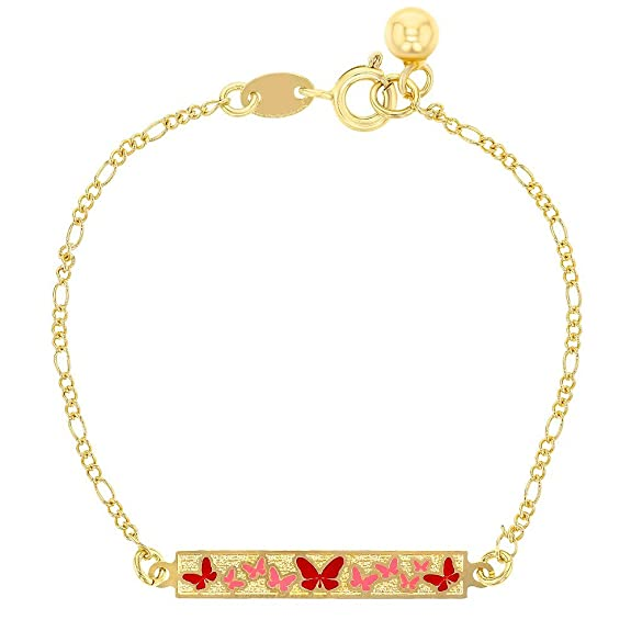 18k Gold Plated Pink Red Enamel Butterfly Party ID Tag Girls Bracelet 5.5""