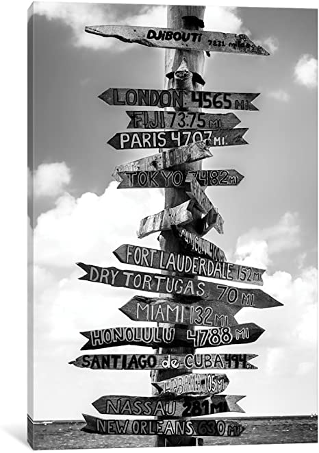 Amazon Com Icanvasart Icanvas Key West Directional Sign I Gallery Wrapped Canvas Art Print By Philippe Hugonnard 18 X 12 Posters Prints