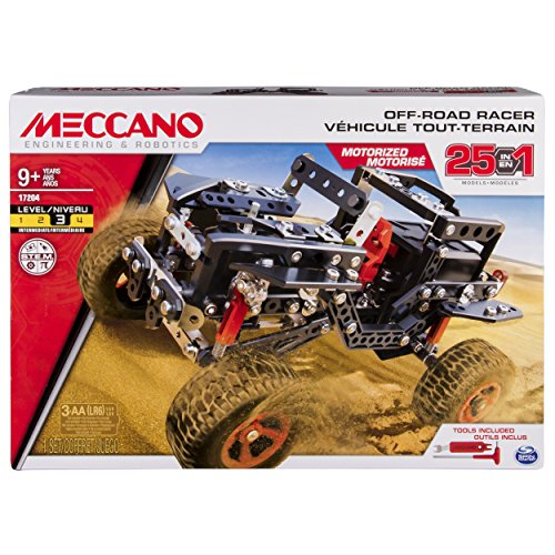 Meccano Erector by, Motorized Off Road Racer, 25 Vehicle Model Building Set, 406 Pieces, For Ages 9 and up, STEM Construction Education (Motorized Vehicle)