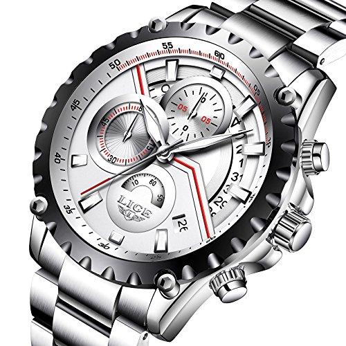 mens silver stainless steel watches men chronograph sports 30m waterproof luxury unique design calendar date wrist