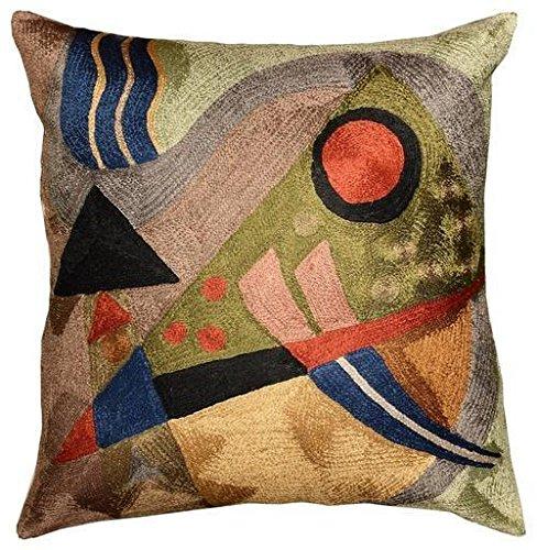 """Kashmir Designs Kandinsky Abstract Silk Throw Pillow Cover Composition 18"""" x 18"""""""