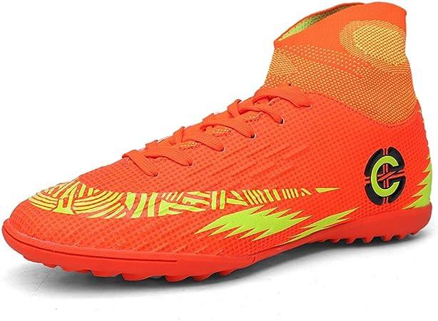 GXTING Botas De Fútbol para Hombre, Zapatos De Atletismo De Fútbol para Niños Zapatillas De Deporte con Zapatillas Altas Zapatillas De Deporte Profesionales Zapatillas De Competición,Naranja,38: Amazon.es: Hogar